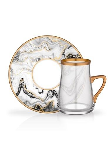 Glore Marble Kulplu 6 Kişilik Çay Set Renkli